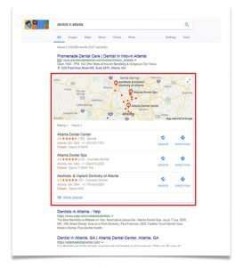 "Google Snack Pack Map Listing - for search ""dentist in atlanta"""